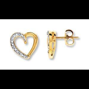 Gold and Diamond Heart Earrings